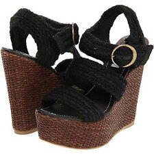 Steve Madden 4 The Cool People High Cortny Wedge Sandals Brown & Black Size 9.5