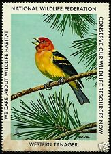 WESTERN TANAGER, NATIONAL WILDLIFE FEDERATION CINDERELLA 1975, MNH