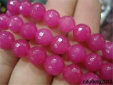 """8mm Faceted AAA+++ Natural Red Rose Ruby Round Gemstones Loose Beads 15""""##QF360"""
