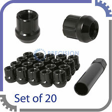 20pc 12x1.5 Lug Nuts with Key | Cone Seat | Short Open End | Black