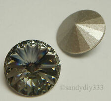 2x SWAROVSKI 1122 BLACK DIAMOND 14mm RIVOLI CRYSTAL STONE BEAD (Foiled)