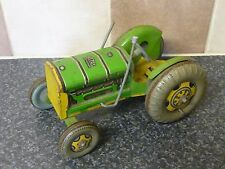 VINTAGE TINPLATE CLOCK METTOY PLAYTHINGS (MADE IN GT BRITAIN) TRACTOR VGC