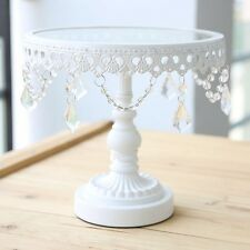 9 Inches  Gorgeous White Iron /Glass  And Crystal Cake Stand For Wedding Parties