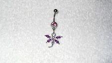 Purple Stone Dragonfly Belly Button Navel Ring Body Jewelry Piercing 14g Sexy