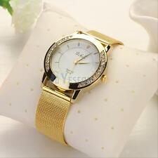 Luxury Women Ladies Crystal Stainless Steel Golden Band quartz Wrist Watch New