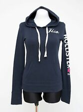 WOMENS HOLLISTER THIN HOODIE TOP 100 % COTTON NAVY SIZE M MEDIUM EXCELLENT