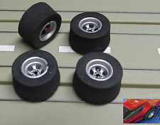 For Slotcar Model Car Track 4 Rims with new Tyres for AFX Dragster Vehicles
