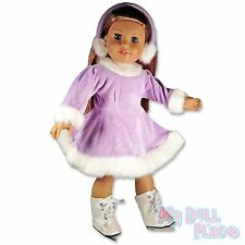 "Lavender Winter Skating Dress Glitter Skates fit 18"" American Girl Doll Clothes"