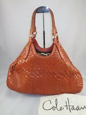 COLE HAAN Woven Genevieve Large Triangle Tote Hobo Burnt Orange Leather