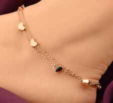 14K Rose Gold GP Heart Charms Anklet Womens Foot Jewelry Ankle Chain Bracelet