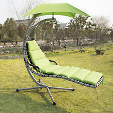 Hanging Chaise Lounger Glider Hammock Chair Canopy Swing Outdoor Patio Furniture