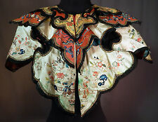 Antique Chinese Silk Forbidden Stitch Embroidery Figural Butterfly Cloud Collar
