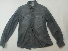 Levis Original Riveted Shirt Mens Small Charcoal Gray Stonewash Fade LS Vintage