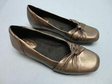 Womens Clarks Artisan Flats Leather Shoes Pewter Size 7 Narrow - New