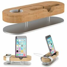 Aluminum Wood Charging Station Charger Dock Stand Holder For Apple Watch iPhone