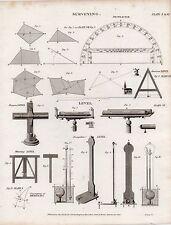 1819 georgiano impresión ~ topografía diferentes diagramas nivel Transportador