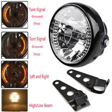 "Bracket Mount Universal 7"" Motorcycle Headlight LED Turn Signal Light Indicators"