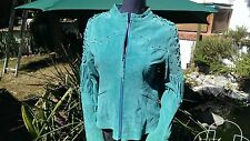 Scully Leather L8 Turquoise Western Fringe Boar Suede Jacket   (M)