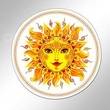 funny car bumper sticker smiling sun face colourful decorated 88mm vinyl decal