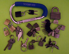 60+ Pc.Vintage Lot of ASSORTED LOCKS KEYS RINGS & LOOPS -
