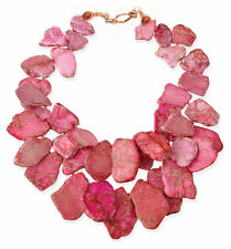 Pink Rose Jasper Large Chunky Necklace Statement Gem Jewelry Made in USA
