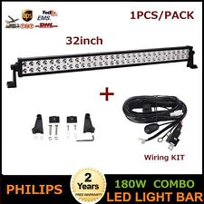 "1pc Philips 180W 32"" LED Light Bar Combo Beam Off Road JEEP ATV With Wiring Kit"