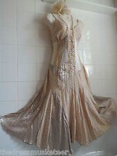 NEXT Vintage 1920's sz18 Cream Victorian Corset Ribbon Satin Lace Gatsby DRESS