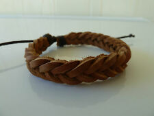2x Mens/Womens quality Coffee leather bracelet/wrist band, L 21-28cm. FREE POST