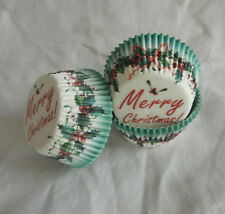 50 xmas hollyberry ring  Cupcake liners baking paper cup muffin case 50x33mm