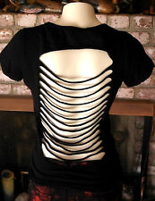 WOMENS FOLTER CLOTHING GOTH ROCK STREET PUNK SLASHED TEE T SHIRT TOP SZ XL