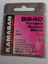 Kamasan B640 Forged round bend Hooks size 22 Spade end  pack of 10