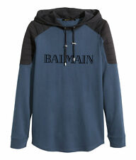 BALMAIN x H&M Blue Hooded Sweatshirt Flock-Print Velvet Text Logo Hoodie LARGE