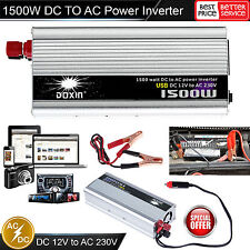 Car Power Inverter 1500W 12V DC to 230V AC Converter USB Battery Charger UK Plug