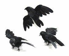 "4"" LONG HALLOWEEN FEATHER FLYING CROW BIRD, BLACK, SET OF 6"