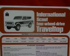 International Scout 4x4 Traveltop, sales brochure / specification sheet