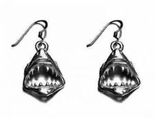 Sterling Silver Jaws SHARK Tooth Dangle Charm Earrings