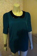 MARKS & SPENCER EMERALD SEQUIN COLLAR BLOUSE SIZESZE 16  CLEARANCE