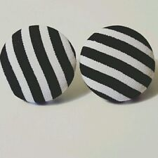 Black and White Fabric Button Earrings