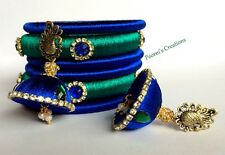 Silk Thread Bangles with Earrings - Green & Blue With Peacock Stud