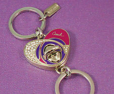 NEW Coach Pink/Purple Swarovski Pave Enamel Heart Valet Key Chain Ring 92961