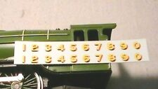 TRIANG HORNBY LIMA ECT LNER NUMBERS X2 TRANSFERS DECAL YELLOW GOLD / RED SPARES.