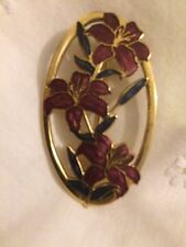 Vintage Fish And Crown Red Purple and Gold Cloisonne Enamel Floral Brooch Pin