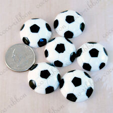 25mm 12pcs Soccer Ball Sport Ball Cheer Diy Deco Flatback Resin Cabochons