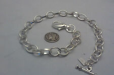 "NEW HAND-MADE SILVER PLATED POCKET WATCH CHAIN: VEST CLASSIC 18"" OVAL ROLO LINK"