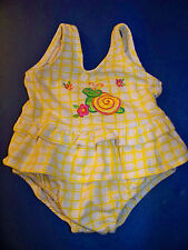 Baby Girls Yellow Checkered Swimsuit with Diaper Liner Size 12 Months GUC