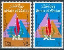 Qatar 1988 ** Mi.927/28 Menschenrechte Human Rights Hände Flame of Liberty