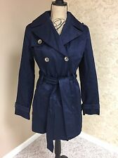 Beulah Womens Navy Blue Belted Double Breasted Trench Coat Jacket Medium