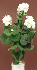 "Silk Geranium Bush. White/Green. 22"" Tall. Cemetery Flowers, Wreaths, etc."