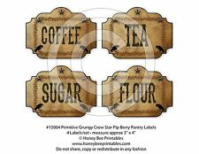 Primitive Grungy Kitchen Pantry Labels Crow Star Pip Berries #15004