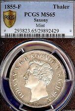 German States Saxony 1855 F Taler Coin PCGS MS65 F.STGL/STGL Thaler Mint Visit